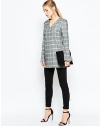 ASOS | Gray V Neck Long Sleeve Tunic Top In Check | Lyst