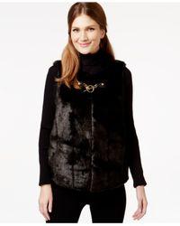 Michael Kors | Black Michael Embellished Faux-fur Vest | Lyst