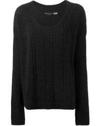 Alice + Olivia - Black Cable Knit Detail Sweater - Lyst