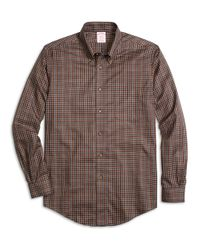 Brooks Brothers | Brown Non-iron Madison Fit Micro Plaid Sport Shirt for Men | Lyst