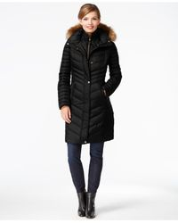 Marc New York | Black Faux-fur-trim Chevron-quilted Down Coat | Lyst