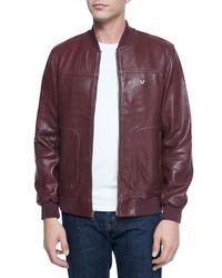 True Religion - Purple Solid Leather Jacket for Men - Lyst