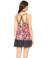 Free People - Shortie Slip Dress - Black Combo - Lyst
