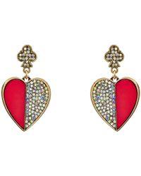 Betsey Johnson - Metallic Casino Royale Large Heart Drop Earrings - Lyst