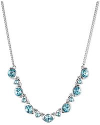 Givenchy - Blue Silver Tone Aqua Swarovski Element Frontal Necklace - Lyst
