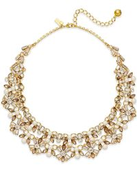 kate spade new york | Metallic 12k Gold-plated Imitation Pearl And Crystal Statement Necklace | Lyst