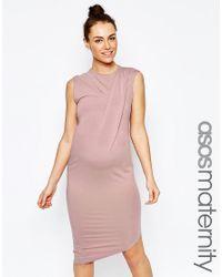 ASOS - Natural Bodycon Dress With Drape Shoulder And Aysmmetric Hem - Mink - Lyst