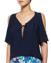 Nanette Lepore - Blue Amiga Lace-Up Top - Lyst