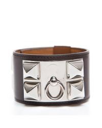 Hermès - Black Pre-Owned Red Courcheval Stud Cuff Bracelet - Lyst