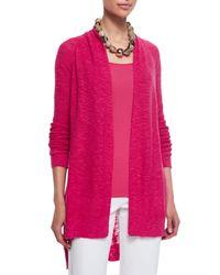 Eileen Fisher | Pink Linen-cotton Slub Cardigan | Lyst