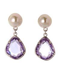 Majorica | Purple Stone  Faux Pearl Drop Earrings | Lyst