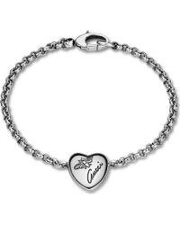 Gucci | Metallic Flora Sterling Silver Heart Bracelet | Lyst