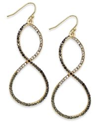 INC International Concepts | Black Gold-tone Multistone Infinity Drop Earrings | Lyst