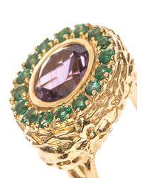 Jade Jagger | Multicolor Amethyst, Emerald & Gold-Plated Ring | Lyst