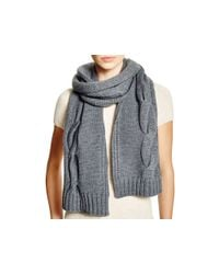 Tory Burch | Gray Cable Knit Scarf | Lyst