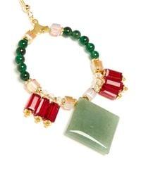 Scho   Multicolor Jade Rhombus Crystal Hoop Earrings   Lyst