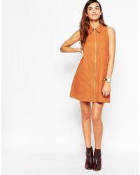 ASOS - Orange Sleeveless Zip Through Shirt Dress - Lyst