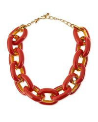 Kenneth Jay Lane - Pink Coral Enamel & Gold-plated Link Necklace - Lyst