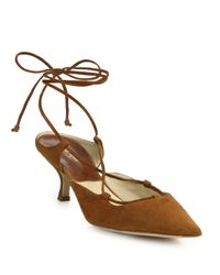Michael Kors - Brown Somers Suede Lace-up Pumps - Lyst