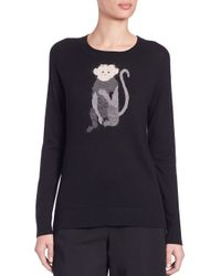 DKNY - Black Intarsia-knit Monkey Sweater - Lyst