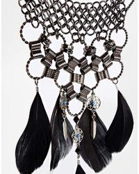 ASOS - Black Festival Dreamcatcher Feather Necklace - Lyst