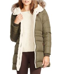 Lauren by Ralph Lauren | Green Berber And Faux Fur-trimmed Hood Anorak | Lyst