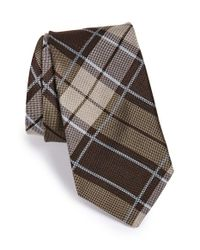 John Varvatos - Brown 'vintage Plaid' Silk Tie for Men - Lyst