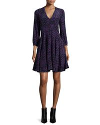 Rebecca Taylor - Blue Aster Floral Silk Fit-and-flare Dress - Lyst