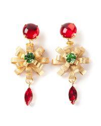 Silvia Gnecchi - Metallic Red Stone Earrings - Lyst