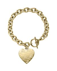 Michael Kors - Gray Golden Etched Mk Heart Bracelet - Lyst