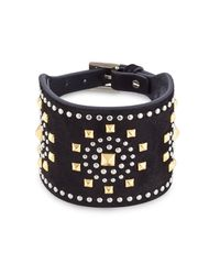 Valentino | Embellished Suede Cuff - Black | Lyst