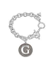 Guess | White G Girl Large G Disc Bracelet | Lyst