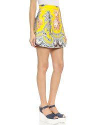MSGM   Cotton Paisley Mini Skirt - Yellow Multi   Lyst
