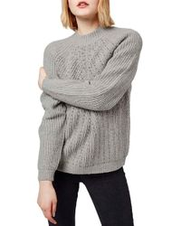 TOPSHOP - Gray Beaded Knit Sweater - Lyst
