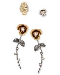 Betsey Johnson | Metallic Pavé Skull Stud And Flower Earring Set | Lyst