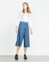 Zara | White Text T-shirt | Lyst
