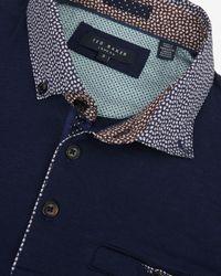 Ted Baker   Blue Bennam Woven Collar Polo Shirt for Men   Lyst