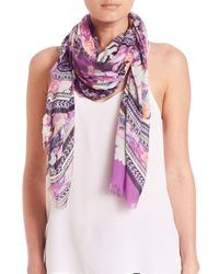 Roberto Cavalli | Purple Secret Garden Scarf | Lyst