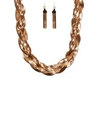 AKIRA - Metallic Braided Snake Chain Necklace W/ Snake Chain Earring Set - Lyst
