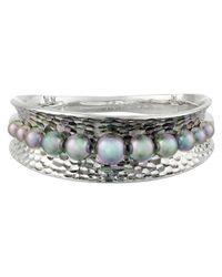 Majorica | Metallic Hammered Cuff Bracelet | Lyst