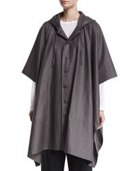 Eskandar - Gray Hooded Button-front Raincoat Poncho - Lyst