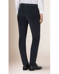 Burberry - Blue Slim Fit Corduroy Trousers Ink for Men - Lyst
