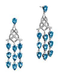 John Hardy | Batu Classic Chain Silver Chandelier Earrings With London Blue Topaz | Lyst