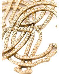 Roberto Cavalli - Metallic 'rc' Swarovski Strass Earrings - Lyst