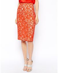 Coast | Red Maurizia Lace Skirt | Lyst