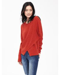 Banana Republic | Red Cutout-front Crew Pullover | Lyst