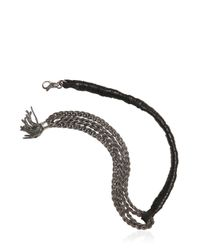 Emanuele Bicocchi | Metallic Multiple Chain & Woven Leather Bracelet for Men | Lyst