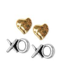Lucky Brand - Metallic Twotone Heart Xo Stud Earring Set - Lyst