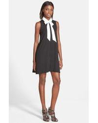 Glamorous - Black Sleeveless Tie Neck Dress - Lyst