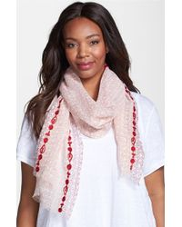 Eileen Fisher - Pink Embroidered Print Scarf - Lyst